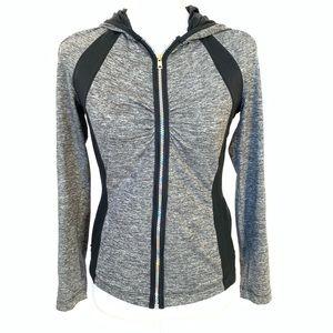 Bebe Sport Gray Black Hoodie Jacket Zip Up